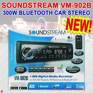 SOUNDSTREAM VM-902B 300W BLUETOOTH SINGLE DIN CAR STEREO USB AUX PHONE CHARGING