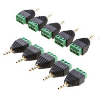 10 Pieces 3.5mm 3 Pole Stereo Audio Vedio Male to 3 Screw Terminal