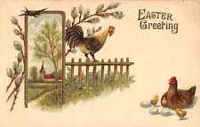 Easter Greeting rooster chicken chicks blue bird antique pc Z19698