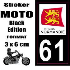 Sticker style Immatriculation Plaque MOTO black NOIR Département NORMANDIE 61
