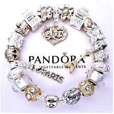 Authentic Pandora Silver Charm Bracelet with Gold LOVE PARIS European Charms