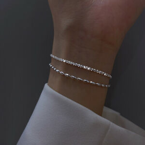 925 Silver Double Layer Gypsophila Flash Chain Bracelet Bangle Women Jewelry New