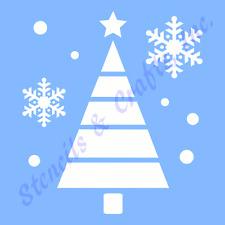 CHRISTMAS TREE STENCIL SNOWFLAKES DOTS CIRCLES SNOWFLAKE CRAFT PAINT PATTERN NEW