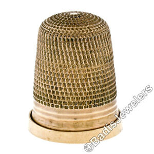 Collectible Antique Birks 9K Gold Engraved Etched Sewing Thimble w/ Ribbed Band