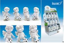 Poly-Engel ''Igor'' mit Fussball weiss-color Figur Kinderzimmer Geschenk Figur