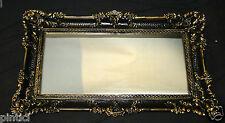 Specchio Da Parete Barocco ORO NERO DECORAZIONE 97x57 Antico Grande