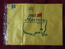 2002 MASTERS GOLF PIN FLAG AUGUSTA NATIONAL TIGER WOODS. Signed Justin Leonard