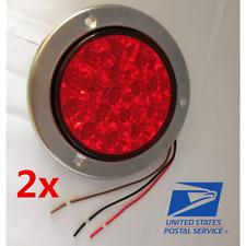 """2x 5.5"""" Red 16 LED Round Tail Light Brake Reverse for Car Truck Trailer 12V/24V"""