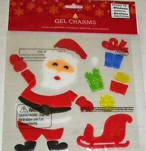 CHRISTMAS Window Gel  SANTA With His Sleigh and Gifts