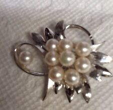 VINTAGE STERLING  SILVER PIN PENDANT WITH REAL JAPANEESE CULTURED PEARLS A+