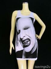 MARILYN MANSON Tank Top, GOTH ROCK Metal, White Cotton SINGLET T-shirt Mini