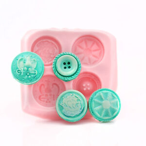 Button Silicone Mold Food Safe Fondant Chocolate Mint Resin Clay Mold (772)