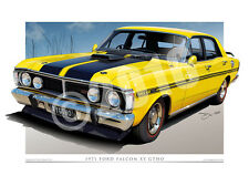 Ford XY GT Falcon Drawing | XY GTHO Print Available in 17 Colours (unframed)