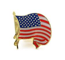 United States Waving Flag Gold Furl Lapel Hat Pin PPM400R