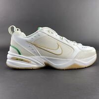 Nike Men's Air Monarch IV White Metallic Gold Lucky Green Shoes 415445-103 Sz 13