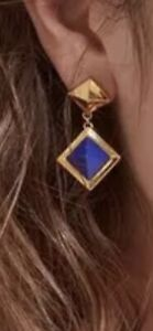 Sterling silver 925 gold plated 18k dropped pyramid lapis Lazuli earrings