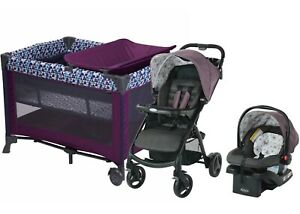 Newborn Baby Stroller Travel System with Infant Car Seat Playard Crib Combo