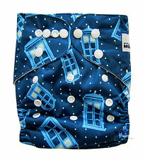 MODERN CLOTH NAPPIES REUSABLE ADJUSTABLE DIAPERS, Tardis SHELL