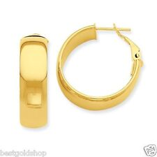 All Shiny Round Hoop Earrings with Omega Back Real 14K Yellow Gold 2.25gr
