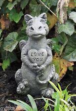Little Darling Dragon 'Heart'-cast stone-baby animal-garden statue-cute-love you