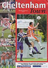 Football Programme>CHELTENHAM TOWN v CARLISLE UNITED Sept 2001