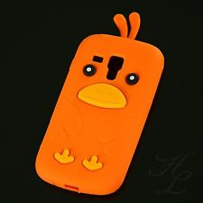 Samsung Galaxy S Duos S7562 Silikon Case Schutz Hülle Etui Chicken Cover Orange