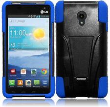 For LG Lucid 2 Advanced HYBRID KICK STAND Rubber Case Phone Cover Black Blue