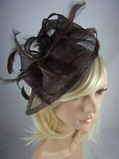 Coffee Brown Teardrop Sinamay Fascinator with Feathers - Occasion Wedding Races