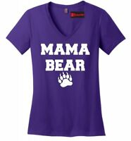 Mama Bear Cute Ladies V-Neck T Shirt Mothers Day Gift Tee Mom Mommy Tee Z5