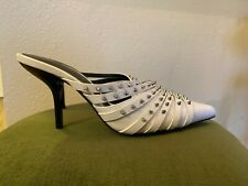 ZARA White Leather Silver Studded Pointy Toe Slip On Mule Heel Shoes 40/8.5/9