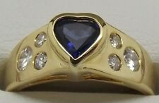 SOLID 18CT YELLOW GOLD NATURAL DIAMOND & SAPPHIRE ENGAGEMENT/DRESS VALUE $2559