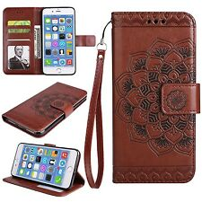 Strap Flip Wallet Wristlet Stand Leather Case Cover Mandala Flower For iPhone  C