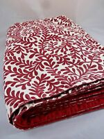 8 Placemats Burgundy Red Cream Off White Reversible Stylized Botanical Print