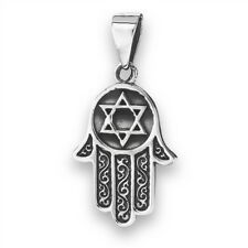 Sterling Silver Khamsa Hamsa Khasma Hand of God Star of David Pendant Jewish