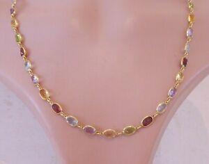 18ct gold multi gem designer LAUREL necklace, heavy 16 grams