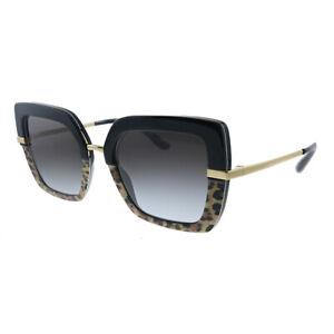 New Dolce & Gabbana DG 4373 32448G Top Black On Print Leo Sunglasses Grey Lens