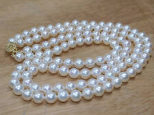 """2 row AAA 8-9mm white round Freshwater genuine cultured Pearl necklace 17""""-18"""""""