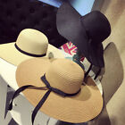 Foldable Women Lady Sun Straw Hat Wide Large Brim Floppy Derby Summer Beach Cap