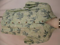 Tommy Bahama Mens Green Floral Linen Hawaiian Shirt L