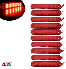 "10x 5"" Red 12 Led Side Marker Lights Bar Lamps For Man Daf Scania Truck 24 Volt"