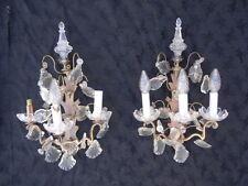 Appliques bronze pampilles poignard cristal Baccarat d'époque 19ème