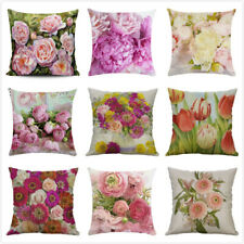 Vintage Linen Flower Pillow Case Rose Peony Tulip Cushion Cover Sofa Car Decor