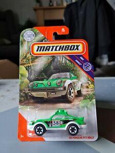 MATCHBOX '85 PORSCE 911 RALLY GREEN #66 MBX JUNGLE USA LONG CARD NEW UK STOCK