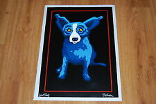 George Rodrigue Blue Dog A Midnight Drink Silkscreen Print Signed Numbered Art