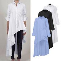 Womens High Low Long Sleeve Collar Button Down Irregularity Hem Shirt Top Blouse