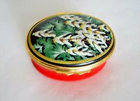 Halcyon Days Enamels Collectible Dicentra Cucullaria Hinged Trinket Box England