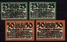 [16816]  - 4 x Notgeld TREBNITZ (heute: Trzebnica), Stadt, 25 + 50 Pf, 05.11.192