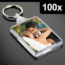 100x Premium Quality Clear Acrylic Blank Photo Keyrings Key Fobs 50 x 35 mm