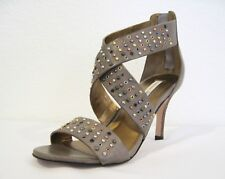 "Cynthia Vincent ""Reid"" Grey Olive Brown Studded Heels Size 5 1/2"