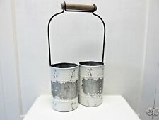 Metal Double Utensil Caddy Organizer with Handle Farmhouse Country Rustic